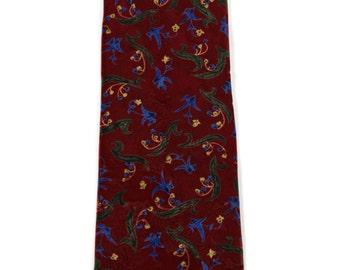 Vintage Christian Dior Monsieur Burgundy Floral Print Tie Menswear Dapper Necktie