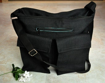 Large diaper bag, unisex diaper tote bag, black nappy bag for dad, excellent quality zippered diaper bag, hands free baby travel bag