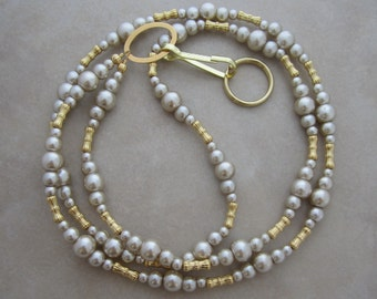 beige pearl gold lanyard badge ID holder
