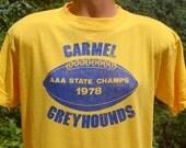 vintage 70s t-shirt CARMEL high school GREYHOUNDS football champions tee Large 1978 soft thin