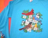 vintage 80s sweatshirt BIRD applique glitter puffy cardinal birds funny XS Small wtf