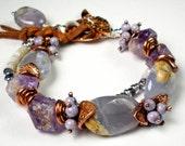Multi Strand, Chalcedony Bracelet, Rustic, Mixed Metal,  Multi Gemstone,  Copper, Silver, Amethyst, Australian Opal, Iolite-  Twilight Mist