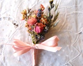 Montana Romance and Lace Corsage of Dried French Lavender and Rose Bud, Blue & Pink Larkspur  Paula Jeans Garden