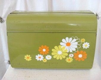 Vintage Metal Paper Towel Kitchen Dispenser, Foil, Saran, Wax Paper, Green with Orange, Y