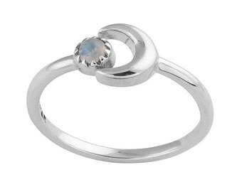 Orbit Moonstone Stackable Sterling Silver Ring,Witch,Boho,Gift,Goth,Grunge