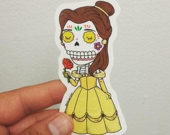 Belle Calavera Clear Die-cut Vinyl Sticker Day of the Dead