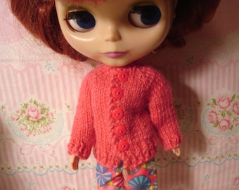 Blythe Coral Cardigan Sweater and Socks forPullip and Vintage Skipper Too
