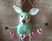 OOAK woodland mint green deer in love sculpture Ready to Ship