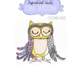 COLORING BOOK OWL Wisdom Inspirational Sayings Coloring Posters and Greeting Cards to Color