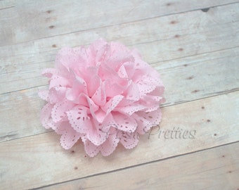 Pink Eyelet Lace Flower Hair Clip - Lace Flower -
