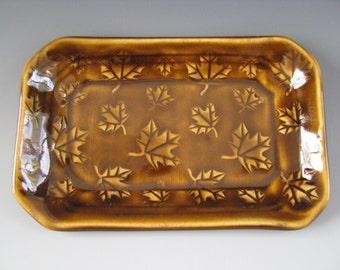 Ceramic Pottery Soap Dish / Trinket Tray Brown Amber Maple Leaves