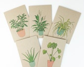 Houseplant cards (individual or set) 100% recycled