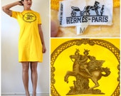 RESERVED Vintage 80s 90s HERMES Les Tuileries Golden Yellow T-Shirt Dress