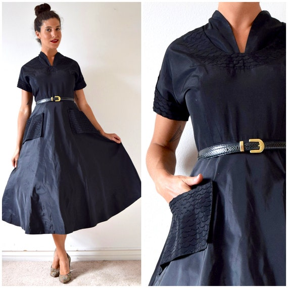 SUMMER SALE/ 30% off Vintage 50s Inky Black Taffeta New Look Party Dress with Pintucked Scalloped Details (size medium)
