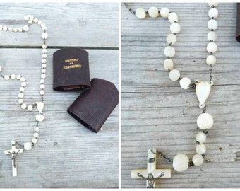 Vintage Antique 1900/1910 white mother of pearl rosary French dizainier christianity Lourdes souvenir with original pocket