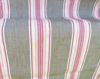 Vintage Antique 1900 old French mattress ticking cotton fabric toile à matelas