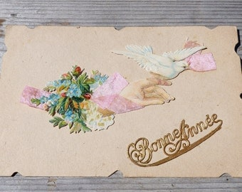 Antique 1900s  French embossed die cut chromolitograph Bonne Annee postcard   Bouquet/real  ribbon