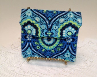 """Blue Quilted Mini-Wallet Amy Butler Designer Fabric #2 """"FREE Domestic Shipping"""""""