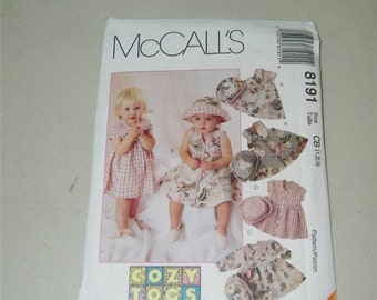 McCalls Girls Dress Hat Pattern 8191 Size 1 2 12173 Cozy Togs