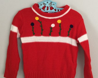 Vintage 80s Girls Red Flower Sweater Size 2t 3t