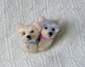 SALE Pet Lover Gift / Custom Dog Double Pin / Needle Felted Portrait of Your Pet