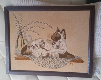 Vintage needlepoint.  Siamese Cat with Kittens 19x15 framed