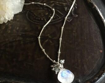 moonstone necklace sterling silver minimalist jewelry boho yoga style aquamarine