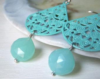 Aqua Filigree Earrings, Aqua Chalcedony Gemstone, Filigree Sterling Silver Hand Patina Teardrop Earrings, Hand Painted Boho Earrings