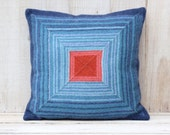Lambswool Pillow Cover Blue and Orange Color Complements Pillow Cover