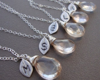 THREE DAY SALE Five (5) Stone Necklaces and Initial of your Choice - All Sterling Silver - Lovely Gift, Bridal Party, Hand Stamped Leaf by l
