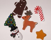 Christmas Push Pins, Holiday Push Pins, Christmas Tree Push Pins, Candy Cane Pin, Snowman Pin, Gingerbread Man Push Pins, Reindeer Pin, Star