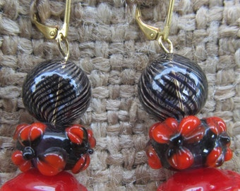 Handmade Black Striped Sphere And Red Flowered Pierced Earrings, Handmade By Susan Every OOAK
