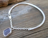 Sea glass Bracelet - Lavender Beach Glass (sea glass) Cuff Bracelet - natural sea glass jewelry