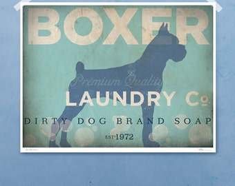 Boxer laundry company laundry room artwork giclee archival signed artists print by Stephen Fowler Pick A Size