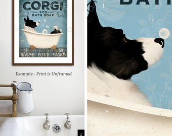 Corgi cardigan dog bath soap Company vintage style artwork by Stephen Fowler Giclee Signed Print UNFRAMED