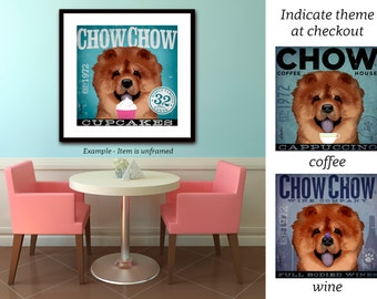 Chow Chow dog Coffee wine or cupcake Company graphic art illustration signed giclee archival artist's print by Stephen Fowler
