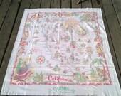 Souvenir Tablecloth, Carmel by the Sea, California Map Table Cloth, 1940s Picnic Gear