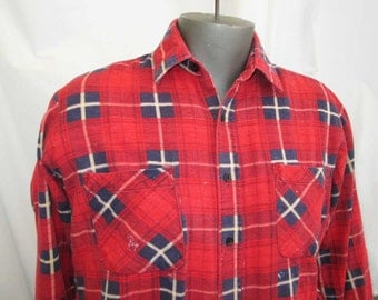 Red Plaid Vintage 70s Flannel Plaid Printed Plaid shirt flannel workwear Red Plaid Flannel printed cotton plaid shirt L