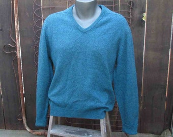 Vintage Mohair sweater 50s Turquoise sweater vintage V neck pullover classic 50s wool vintage pullover M/ L