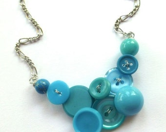 Christmas in July Sale Funky Fashion Small Vintage Button Necklace in Bright Blue