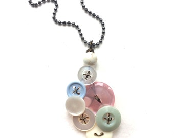 Pale Pastel Pendant made from Vintage Buttons
