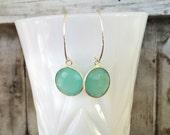 Aqua Peruvian chalcedony earrings /sterling silver & genuine chalcedony gemstone earrings/classic feminine earrings/ vintage glam dangles