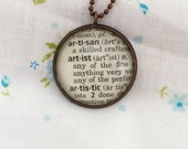 Artist Word Necklace~One of a Kind Vintage Dictionary Word Necklace~Artist, Art Teacher Gift~