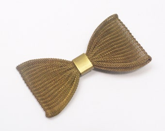 Bow hair clip mesh barrette vintage hair accessory large retro Alice glamour brass gift for her