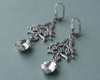 Silver filigree crystal earrings victorian bridal pear jewel antique style wedding