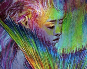 original art drawing aceo card woman mermaid tail fantasy colorful abstract