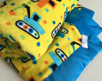 Minky Baby Blanket - yellow Minky Cars Transportation fun with Blue Binding - Made to Order