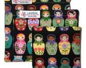 MATRYOSHKA Russian Stacking Babushka Dolls  Re-Usable Lunchkins Snack Bags Nylon Lining and Velcro or Zipper  Closure