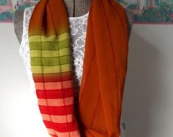 Sheer Infinity Scarf, Lightweight Fabric, Autumn Colors, Orange, Lime Green, Red, Beautiful Drape