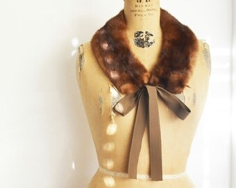 Upcycled mink fur scarf collar with gros grain ribbon